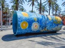 Farbiges Rohr im alten Hafen von Genoa Genova, Italien stockbild