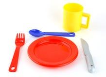 Farbiges Spielzeugset des Tischbestecks Stockbild