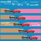 Farbikonen des Autounfalls und des leeren Streifens Stockbild
