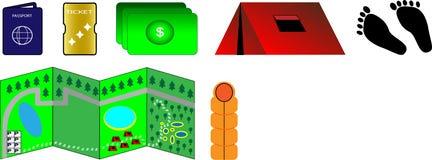 Farbikonen für Reise vektor abbildung