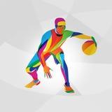 Farbillustration des Basketball-Spielers, Vektor Stockfoto