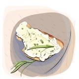 Farbillustration des Brotes mit Butter auf einer Platte Lizenzfreies Stockfoto