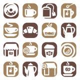Farbkaffee- und -teeikonen Lizenzfreies Stockbild