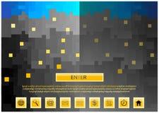 Farbkarikatur-Wolkenkratzerillustration mit Netzikonen Stockfotografie