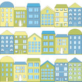 Farbkarikaturhäuser, Illustration Stockfotografie