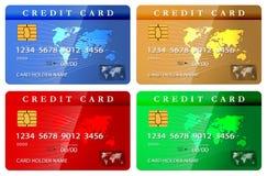 4 Farbkredit oder Debitkarteentwurfsschablone Stockfotos