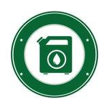 Farbkreisemblem mit Biotreibstoffbehälter vektor abbildung