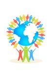 Farbleute heben die Leute-Kreis-Versammlung um die Erde an lizenzfreie abbildung