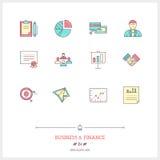 Farblinieikonensatz des Geschäfts, Zeitmanagementgegenstände und auch Stockfotos