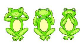 Farbloser Hintergrund mit drei grünen Fröschen Lizenzfreie Stockfotografie