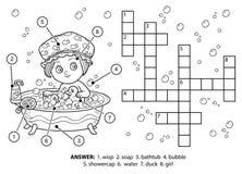Farbloses Kreuzworträtsel des Vektors Das Mädchen nimmt ein Bad mit Schaumgummi lizenzfreie abbildung