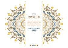 Farbmandala-Blumenform mit Beispieltext für Visitenkarten flayers Fahnen Lizenzfreie Stockfotos