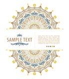 Farbmandala-Blumenform mit Beispieltext für Visitenkarten flayers Fahnen Lizenzfreies Stockfoto