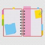 Farboffener Notizblock auf Ringen mit Leerbelegen und Bookmarks zwischen Seiten Eine einfache flache Vektorillustration lokalisie Lizenzfreie Abbildung