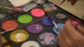 Farbpalette des Körpermalers der schönen Kunst, Abschluss oben stock video