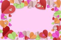 Farbpapierherzhintergrund stockfotos