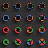 Farbpfeilikone erneuern, Rotation, Zurückstellenzeichen stock abbildung