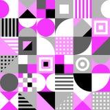 Farbquadrate, Dreiecke, Rechtecke, Kreise Vector nahtloses Muster Einfache geometrische Formen Textilfarbe repetitive stock abbildung