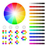 Farbrad mit Schatten von Farben, Farbharmonie Stockfotos