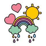 Farbregenbogenwolken, die mit Herzen und Sonne regnen lizenzfreie abbildung