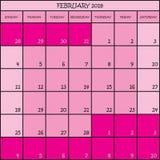 02 2018 Farbrosa Kalenderplaner Lizenzfreie Stockbilder