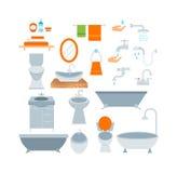 Farbsatz der Badezimmerikonen mit Prozesswassersparensymbolen vector Illustration Lizenzfreie Stockbilder