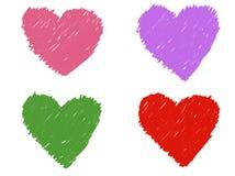 Farbsatz des Herzzeichenstifts Stockbild