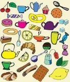 Farbsatz von Gegenständen für Tee Stockfotos