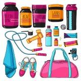 Farbsatz von Sachen für Eignungs- und Sportnahrung Ein Satz mit einem Protein, einem Schüttel-Apparat, Vitaminen und Proteinstang lizenzfreie abbildung