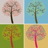 Farbsatzbäume des Vektor Illustration Lizenzfreie Stockfotografie