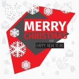 Farbschema-Weihnachtskarte der modernen Art rote schwarze weiße Stockfotografie