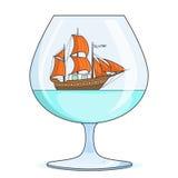 Farbschiff mit orange Segeln im Glas Andenken mit Segelboot für Reise, Tourismus, Reisebüro, Hotels, Ferienkarte Stockfoto