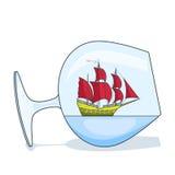 Farbschiff mit roten Segeln im Glas Andenken mit Segelboot für Reise, Tourismus, Reisebüro, Hotels, Ferienkarte Lizenzfreie Stockfotografie