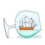 Farbschiff mit weißen Segeln im Glas Andenken mit Segelboot für Reise, Tourismus, Reisebüro, Hotels, Ferienkarte Lizenzfreie Stockfotos