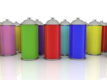 Farbspraydosen in den verschiedenen Farben Lizenzfreie Stockfotografie