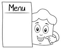 Farbton-Chef Hat Character u. leeres Menü Stockfotos