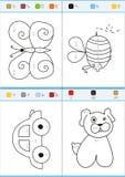 Farbton durch Zahlen. Satz 6 Lizenzfreie Stockbilder