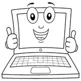 Farbton-Laptop-oder Notizbuch-Charakter lizenzfreies stockbild