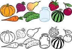 Farbton mit Gemüse und Früchten Stockfotografie