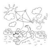Farbton-Seiten-Entwurf des Karikaturhundes mit einem Drachen Bunte grafische Abbildung Stockfotos