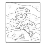 Farbton-Seiten-Entwurf des Karikaturmädcheneislaufs Blau, Vorstand, Kostgänger, Einstieg, Übung, Extrem, Spaß, Drachen, kiteboard stock abbildung