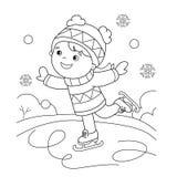Farbton-Seiten-Entwurf des Karikaturmädcheneislaufs Blau, Vorstand, Kostgänger, Einstieg, Übung, Extrem, Spaß, Drachen, kiteboard vektor abbildung