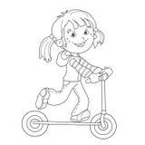 Farbton-Seiten-Entwurf des Karikaturmädchens auf dem Roller Lizenzfreie Stockbilder