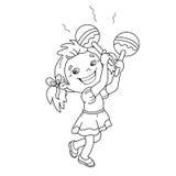 Farbton-Seiten-Entwurf des Karikaturmädchens die maracas spielend Stockbild