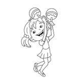 Farbton-Seiten-Entwurf des Karikaturmädchens die maracas spielend Musik Stockbilder