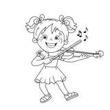 Farbton-Seiten-Entwurf des Karikaturmädchens die Violine spielend Lizenzfreies Stockbild