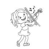 Farbton-Seiten-Entwurf des Karikaturmädchens die Violine spielend Stockfoto