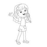 Farbton-Seiten-Entwurf des Karikaturmädchens ein Lied singend Lizenzfreie Stockfotos