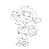 Farbton-Seiten-Entwurf des Karikaturmädchens mit einem Geschenk Lizenzfreies Stockfoto