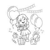 Farbton-Seiten-Entwurf des Karikaturmädchens mit einem Geschenk am Feiertag Malbuch für Kinder lizenzfreie abbildung